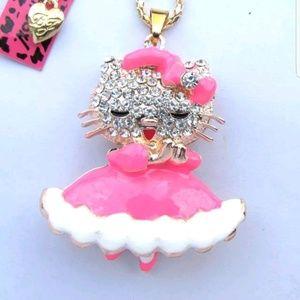 Betsey Johnson Pink Hello Kitty Pendant Necklace